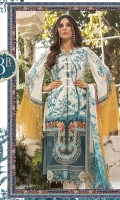 Printed lawn shirt Cambric trouser Chiffon printed dupatta Embroidered ghera patti