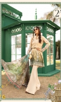 Printed lawn front Cambric trouser Silk printed dupatta Printed trouser patti Embroidered sleeve patch