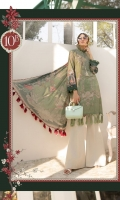 Printed lawn shirt Cambric trouser Printed chiffon dupatta Embroidered neckline