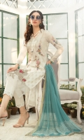 Printed lawn shirt Cambric trouser Printed chiffon dupatta Embroidered schiffli ghera patch