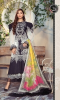 Printed Lawn Shirt Dyed Cambric Trouser Printed Trouser Patti Printed Chiffon Dupatta Embroidered Neckline Shiffli Embroidered Patti