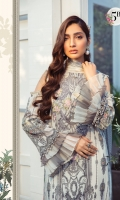 Printed Lawn Shirt Dyed Cambric Trouser Printed Silk Dupatta Embroidered Neckline
