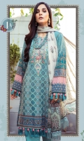Printed Lawn Shirt Dyed cambric Trouser Printed Chiffon Dupatta Embroidered Neckline