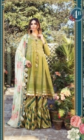 Printed Lawn Shirt Printed Cambric Trouser Printed chiffon Dupatta Embroidered Neckline Embroidered Patti