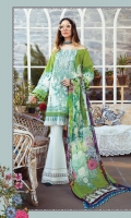 Printed Lawn Shirt Printed Cambric Trouser Printed Chiffon Dupatta Embroidered Neckline
