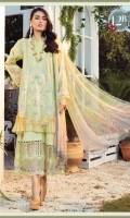 Printed Lawn Shirt Dyed cambric Trouser Printed Chiffon Dupatta Embroidered Patti-1 Embroidered Patti-2