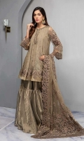 3 pieces Zari-net embroidered panel frock Embellished neckline Embroidered sleeves Tissue gharara Chiffon fully embroidered dupatta