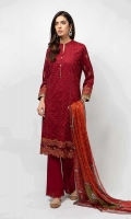3 Piece Shirt, Trouser and Dupatta Embroidered paneled lawn shirt Embroidered cotton pants Printed silk dupatta