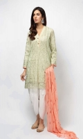3 piece Shirt, Trouser and Shalwar Yellow/Mint green Embroidered lawn shirt and sleeves Embroidered chiffon dupatta Cotton tulip shalwar