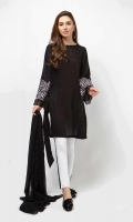 3 Piece Shirt, Trouser and Dupatta Black Lawn shirt with embroidered sleeves Straight cotton pants Chiffon dupatta
