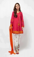 3 Piece Shirt, Trouser and Dupatta Angrakha cut lawn shirt with embroidered sleeves and border White cotton embroidered shalwar Orange-chiffon dupatta