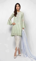 3 Piece Shirt, Trouser and Dupatta Straight lawn shirt with embroidered neckline, schiffli lace details on flared sleeves and shirt border Embroidered cotton tulip pants Chiffon dupatta