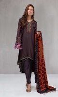 3 piece Shirt, trouser and shawl Dobby linen a line shirt Embroidered neckline and sleeves Cambric trouser  Woven shawl