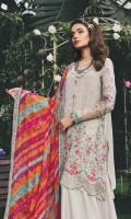 Embroidered cotton net front Cotton net back Embroidered cotton net sleeves Embroidered organza ghera and sleeve lace with pearls Embroidered chiffon dupatta Embroidered cotton satin dupatta lace Embroidered cotton satin sleeve lace Organza ghera lace back Cotton satin trouser Cotton satin undershirt Embroidered organza trouser lace