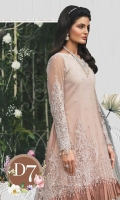 Embroidered shaded net front with pearls Shaded net back Embroidered net sleeves with pearls Embroidered net dupatta with pearls Embroidered organza neckline patti with pearls Embroidered organza dupattapallupatti Cotton satin under shirt Jacquard trouser