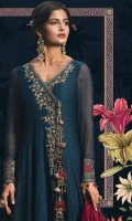 Embroidered cotton satin front Cotton satin back Embroidered chiffon sleeves Embroidered organza ghera lace Embroidered organza sleeve lace Embroidered organza neckline Embroidered organza neck lace Embroidered velvet ghera lace Embroidered velvet dupatta lace Jacquard trouser Digital printed tissue dupatta