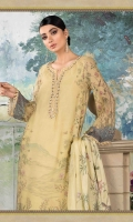 100% Pure Hand Woven Silk Net shirt Pure Chinese silk dupatta Cotton satin trouser Lawn under shirt Hand embroidered and embellished neckline 1 piece Hand embroidered and embellished sleeve lace