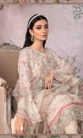 100% Pure Hand Woven Silk Net shirt Pure organza dupatta Cotton satin trouser Lawn under shirt Hand embroidered and embellished neckline lace Hand embroidered and embellished neckline motifs Hand embroidered and embellished ghera lace