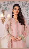 100% Pure Hand Woven Silk Net shirt Pure organza dupatta Cotton satin trouser Lawn under shirt Hand embroidered and Hand embellished neckline motifs 2 pieces Hand embroidered ghera lace