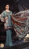 Digital printed pure charmeuse silk front and back 2.5m Digital printed sleeves 0.65m Digital printed silk dupatta 2.5m Dyed cotton satin trouser 2.5m Embroidered and embellished neckline 1 piece