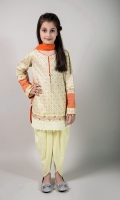 3 Piece Shalwar Shirt and Dupatta Yellow Doria Screen Printed Shirt with Embroiderey on Hem and