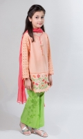 3 Piece: Shirt, Trouser & Dupatta Peach Lawn Shirt With Schiffli Sleeves