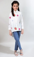 2 Piece White Button Down Embroidered Shirt with Blue Pants