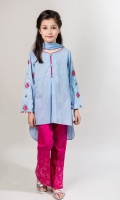 3 Piece Blue lawn A-line Shirt with Embroidered Slevees