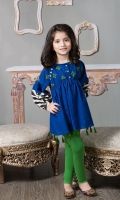 2 Piece Frock and Tights Khaddar Short Frock with Embroidered Bodice Screen Printed Patti on Sleeves Green Tights Embellished with Tassels and Buttons