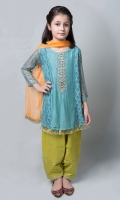 3 piece Shirt, Dupatta and Shalwar Screen Printed Arabic Lawn shirt with Embroidered Neckline and Screen Printed Sleeves Lime Green Embroidered Shalwar Net mustard Dupatta  Embellished with Gotta and Lace