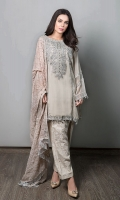 3 Piece Chiffon Straight Shirt With Embroidered Neckline And Sleeves Jacquard Trouser Embroidered Dupatta