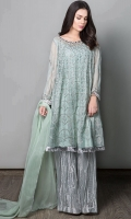3 Piece Frock, Trouser and Dupatta Long Length Chiffon Paneled Frock Fully Embroidered, Embellished Neckline Tissue Crushed Sharara pants Chiffon Dupatta .