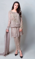4 Piece Shirt, Trouser, Slip and Undershirt Chiffon Kimono Sleeves, Blousing cut Shirt with Sequence Jaal all over.  Braid Tassels Belt. 3D Flowers Motives Embellished with Pearls and Stones on Neckline and Sleeves Raw Silk Pants Chiffon Dupatta