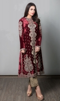 2 Piece Gown And Trouser Velvet Embroidered Gown Jacquard Trouser