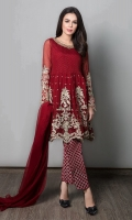 3 Piece Chiffon Peplum Cut With Swarovski Spray Bodice Embroidered Hem And Sleeves Embellished Neckline Raw Silk Foil Printed Pants Plain Red Chiffon Dupatta