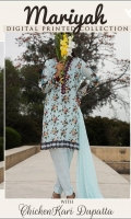 3.0 Meter Printed Digital Lawn Shirt 2.5 Meter Emb ChickenKari Dupatta 2.5 Meter Trouser