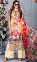 Chikan Printed Lawn front with Embroidered Neckline Patch Printed Lawn Back and Sleeves Printed Chiffon Dupatta Dyed Trouser With Embroidered Patch