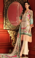 Digital Print Shirt with embroidered Nick line  Dyed Trouser  Digital Print Chiffon Dupatta