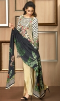 Digital print shirt with embroidered Nick line  Printed Linen dupatta  Dyed trouser with embroidered patch