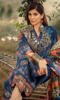 Cross stitch Embroidered front (khaddar) Embroidered side extentions Embroidered sleeves Embroidered back (khaddar) Embroidered front border on silk 1MTR Embroidered border on silk for shawl Woolen shawl 5MTR Dyed trouser khaddar 5MTR