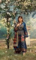 Cross stitch Embroidered front (khaddar) Embroidered side extentions Embroidered sleeves Embroidered back (khaddar) Embroidered front border on silk 1MTR Embroidered border on silk for shawl Woolen shawl 5MTR Dyed trouser khaddar 5MTR