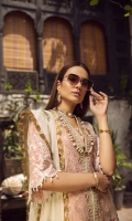 "01 M EMBROIDERED DOBBY LAWN FRONT 02 M EMBROIDERED FRONT BORDER 5 M EMBROIDERED FRONT AND BACK BORDER 25 M DYED LAWN BACK 01 EMBROIDERED BACK MOTIF 65 M EMBROIDERED DOBBY LAWN SLEEVES 01 M EMBROIDERED SLEEVES BORDER 5 M EMBROIDERED DUPATTA WITH GOTTA WORK ON CHANDARI 02 M EMBROIDERED DUPATTA BORDER 44"" EMBROIDERED TROUSER BOTTOM 5 M 100% PIMA COTTON TROUSER"