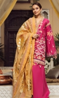 01 M EMBROIDERED FRONT WITH SHEESHA HAND WORK 7 M EMBROIDERED FRONT SHEESHA WORK BORDER 01 M EMBROIDERED NECKLINE PATTI 25 M DYED LAWN BACK 01 EMBROIDERED BACK MOTIF 5 M EMBROIDERED BACK AND SLEEVES BORDER 65 M EMBROIDERED SHEESHA WORK SLEEVES 5 M FOIL PRINTED CHANDERI NET DUPATTA 5 M 100% PIMA COTTON TROUSER