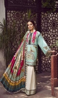 01 M EMBROIDERED LAWN FRONT WITH APPLIQUE WORK 5 M EMBROIDERED FRONT AND BACK BORDER 25 M PRINTED LAWN BACK 5 M EMBROIDERED HEM PATTI 65 M DYED LAWN SLEEVES 01 PAIR EMBROIDERED SLEEVES 5 M PRINTED MEDIUM SILK DUPATTA 12 M EMBROIDERED TROUSER BORDER 5 M 100% PIMA COTTON TROUSER