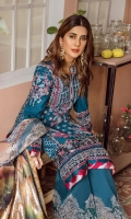 Embroidered sequinned front panel on lawn Embroidered sequinned front side panel on lawn Embroidered sequinned back panel on lawn Embroidered sequinned back side panel on lawn Embroidered sleeve on lawn Embroidered side Patti on silk Embroidery front Daman Patti on silk Embroidered shesha Daman Patti on organza Embroidered shesha sleeve Patti Digital print Dupatta on medium silk - 2.5MTR Dyed cotton trouser on pima - 2.5MTR
