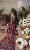 Pure organza appliquéd front on lawn Plan dyed back on lawn Embroidered appliqué back motif Embroidered appliqué front daman on organza Embroidered appliqué sleeve on lawn Embroidered hand printed sleeves on lawn fabric Embroidered appliqué Dupatta two borders on organza Hand printed Dupatta on pure organza 2.5MTR Hand printed dyed trouser on pima cotton 2.5MTR