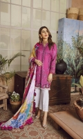 Organza appliquéd Embroidered front two side panel on lawn Organza appliquéd Embroidered sleeve on lawn Embroidered front Daman on Patti Embroidered sleeve Patti Embroidered patch for trouser Digital print Dupatta on medium silk 2.5MTR Dyed trouser on Pima cotton 2.5MTR