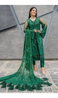 Embroidered sequined and hand embellished front on net fabric Embroidered daman Border on net fabric Embroidered sequined and hand embellished sleeves on net fabric Embroidered back Embroidered sequined dupatta on net fabric Dyed trouser Raw silk Cotton silk inner