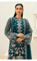 Hand embellished Embroidered front on organza fabric Hand embellished embroidered sleeves on organza Embroidered back Embroidered dupatta on net fabric Embroidered dupatta pallu on organza fabric Screen Printed trouser Cotton silk inner