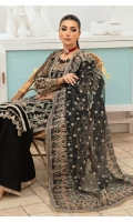 Embroidered sequined and hand embellished front on net fabric Embroidered sequined and hand embellished sleeves on net fabric Sequin Embroidered back on net fabric Sequin Embroidered dupatta on net fabric Embroidered sequined dupatta pallu on net fabric Dyed trouser on raw silk fabric Cotton silk inner